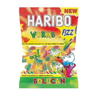 #1768 HARIBO FIZZY WORMS 24X80G
