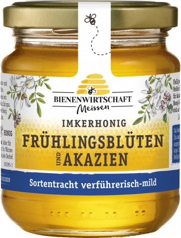 #2204 Bienenwirtschaft Meißen  Frühlingsblüte und Akazie flüssig 10x250g Glas
