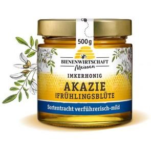 #2665 Bienenwirtschaft Meißen  Frühlingsblüte und Akazie flüssig 10x500g Glas